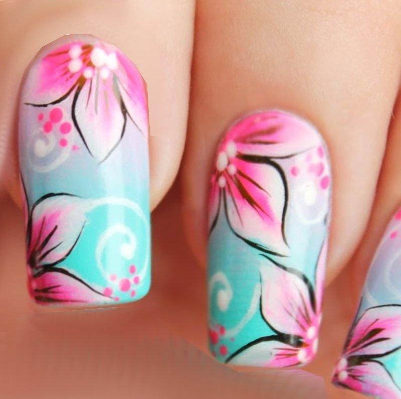decoracion uñas flores colores combinados