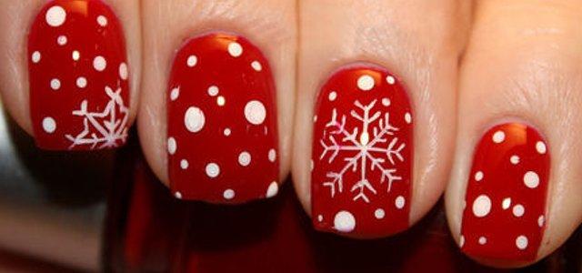 uñas navidad puntos copos nieve