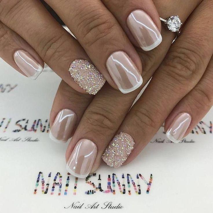 uñas bodas frances diamantes brillantes decoracion