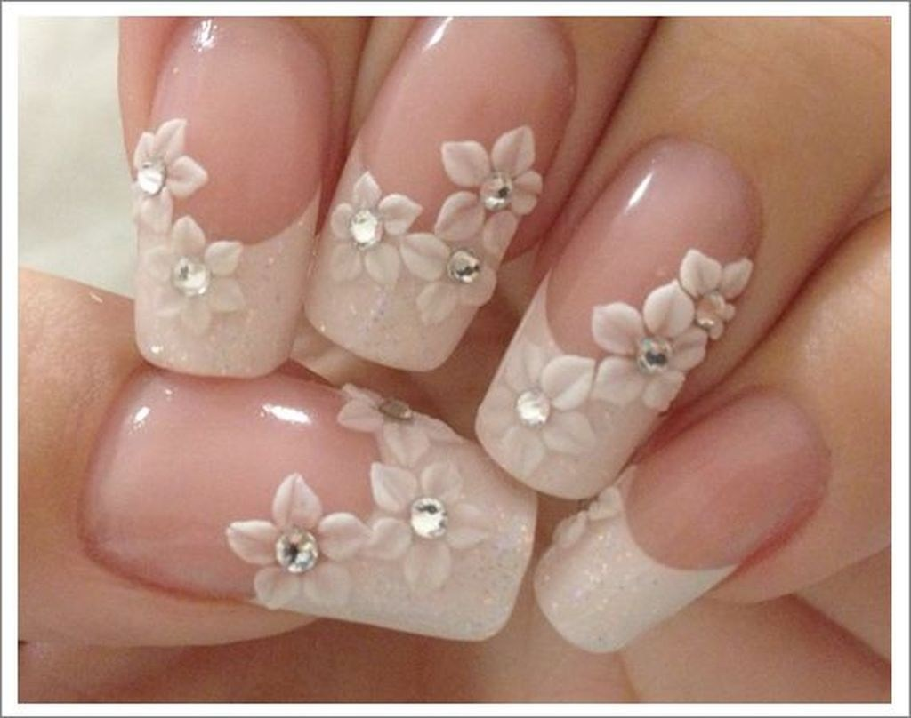 uñas decoracion bodas flores 3d diamantes brillantes